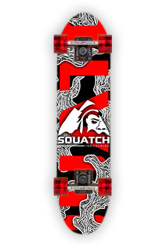 RED MAYHEM.  This Skateboard wrap is from an abstract digital print.