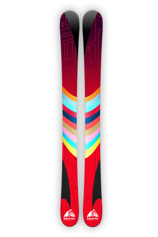 RACING FORMULA.  This Ski Wrap is designed to race.  Abstract red, dark stripes and carbon fiber, everything a great race vehicle has.
