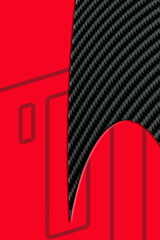 Tail of Right Ski, RACING FORMULA.  This Ski Wrap is designed to race.  Abstract red, dark stripes and carbon fiber, everything a great race vehicle has.
