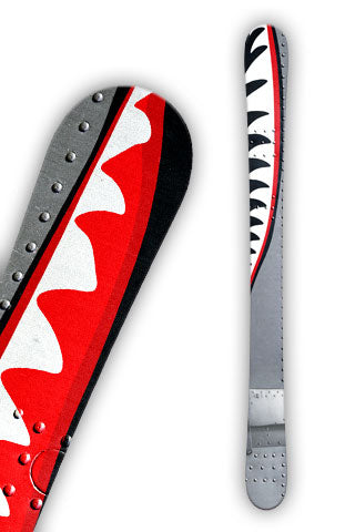 Warhawk ski wrap design was inspired by the famous P-40 Warhawk fighter plane painted with the Flying Tigers shark face.