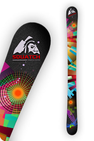 Snow Ski Wraps, COLOR WHEEL BLACK print on our SQUATCH Industries Art Collection