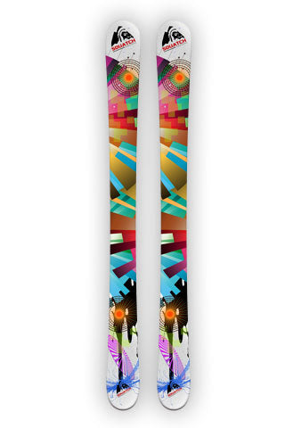 Snow Ski Wraps, COLOR WHEEL WHITE print on our SQUATCH Industries Art Collection