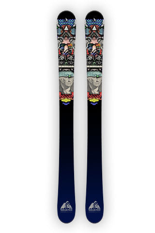 CURRENCY OF THE WORLD. This Ski wrap is from an abstract composite of currencies from around that were put together for this print.
