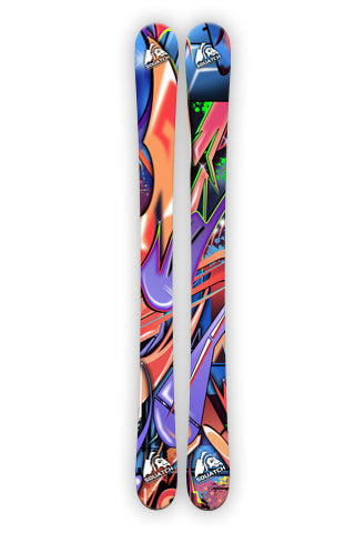 GRAFFITI WORLD.  This wrap is a multi level abstract digital painting. Colors and shapes seen around any major city. It represents an attitude perfect for Skiing, skating, perfect for boarding.