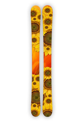 "SUNFLOWER.  Sunflowers ski wraps don't get much brighter then this just like the summer and sun shine they thrive on.  Let this set bring some bright colors and sunshine to your skiing.    Two wraps per set.   Size:   Large:  73""H x 6""W -  187cm x 15cm            $62.95  Small:  60""H x 5""W -  152.5cm x 10.2cm     $50.00"