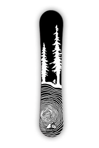 CROSS CUT BIGFOOT. The first design from SQUATCH Industries. This black and white Snowboard wrap design is also available on our top selling graphic tee. Artwork by Dalton Lovitt, SQUATCH Industries Design