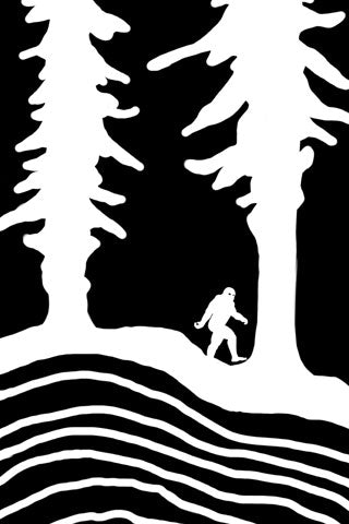 CROSS CUT BIGFOOT. The first design from SQUATCH Industries. This black and white Snowboard wrap design is also available on our top-selling graphic tee.   Artwork by Dalton Lovitt, SQUATCH Industries Design