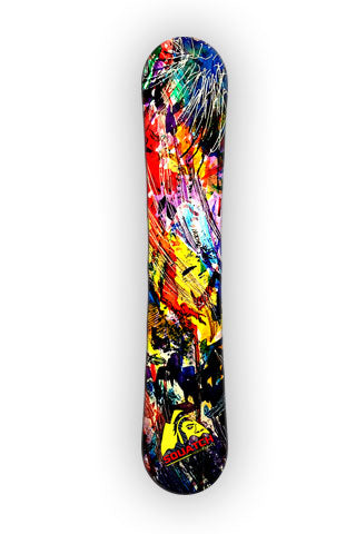 "ABSTRACT EMOTION.  This Snowboard wrap is from an abstract painting collection, originally using acrylic and water color.  The print was photographed for this special wrap. More from this painting will be coming. Sizes:   Large:  67""H x 13""W -  170cm x 33cm Small:  60""H x 12""W -  152.5cm x 30.5cm    See the ABSTRACT EMOTION prints on our SQUATCH Industries Art Collection page."
