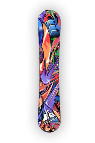 GRAFFITI WORLD.  This Snowboard wrap is a multi level abstract digital painting. Colors and shapes seen around any major city. It represents an attitude perfect for skating, perfect for boarding.