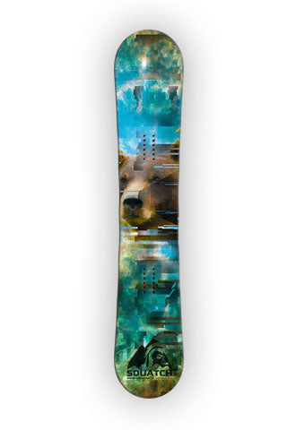 GRIZZLY Snowboard wrap original graphic print.  Photos and graphics wilderness SQUATCH design.