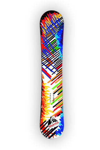 SHARP STROKES  Snowboard wrap digital photographic print.
