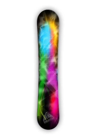 This Snowboard wrap represents the colors of the lights from a music festival.  Imagine the music playing as you snowboard down the slopes.