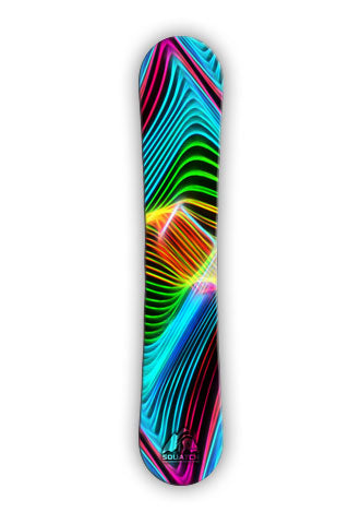 LASER SHOW. This snowboard wrap is from a photograph of an actual laser show. Clean vibrant colors are the hallmark of this snowboard wrap design.