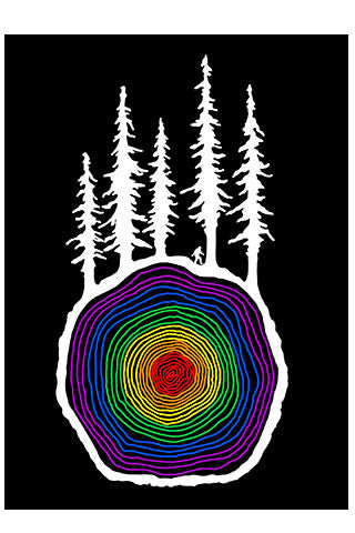 CROSS CUT PRIDE Forest, wood, pride Sasquatch, trees, Black, White, Graphic, Art, Print