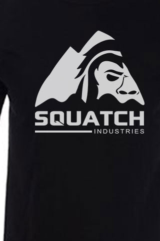 SQUATCH INDUSTRIES Tee. The First and Original White on Black Tee. Original SQUATCH Industries Logo.   Product Description •Artwork by Steve Lovitt, Squatch Industries Design  •Screen Printed Graphic Tee White on Black •Premium Next Level Short-Sleeve Crew (Black) •100% Combed Cotton Jersey •Available in Small - XL