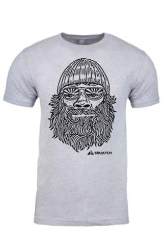 SQUATCH MAN Graphic Tee. Series One Original Black on Heather Gray Tee.