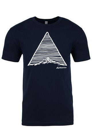 THE MOUNTAIN Tee. Series One Original White on Midnight Navy Tee. Product Description •Artwork by Dalton Lovitt, SQUATCH Industries Design  •Screen Printed Graphic Tee •Premium Next Level Short-Sleeve Crew (Midnight Navy) •100% Combed Cotton Jersey •Available in Small - XXL