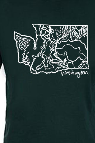 WASHINGTON Tee. Series One Original White on Forest Green Tee. Product Description •Artwork by Dalton Lovitt, SQUATCH Industries Design  •Screen Printed Graphic Tee •Premium Next Level Short-Sleeve Crew (Forest Green) •100% Combed Cotton Jersey •Available in Small - XXL