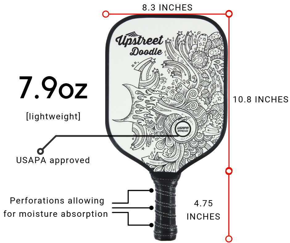 Graphite Pickleball Paddle (Doodle) - Upstreet Pickleball Paddles