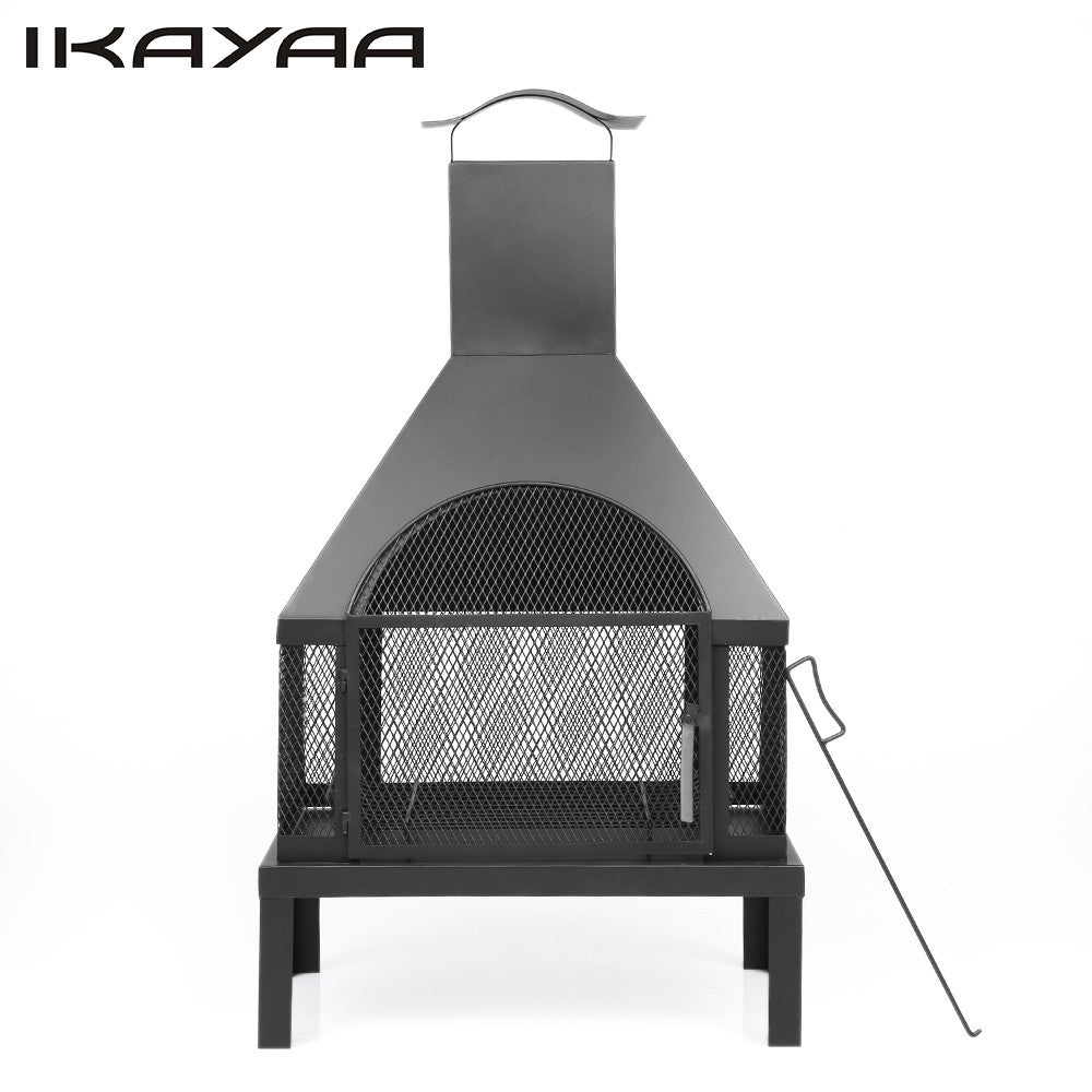 ikayaa garden outdoor fire pit chimenea metal backyard heater