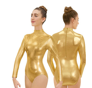 Metallic Mock Neck Leotard