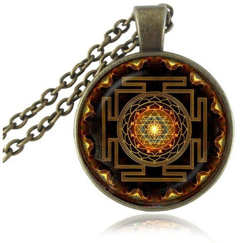 Sacred Sri Yantra Pendant Necklace - Peak Instinct - sacred geometry jewelry
