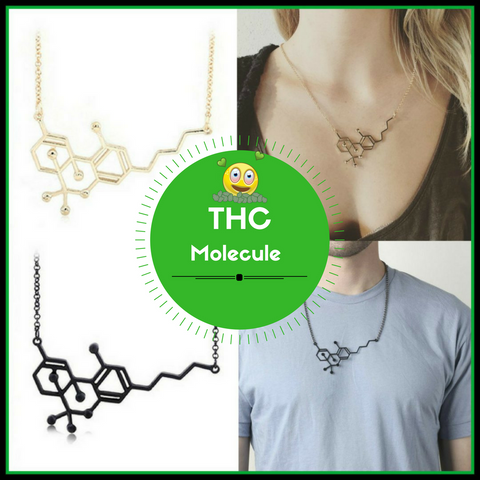 THC Chemical Molecule Structure Necklace