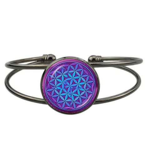 Radiant Blue Flower of Life Cuff Bracelet - Peak Instinct - sacred geometry jewelry