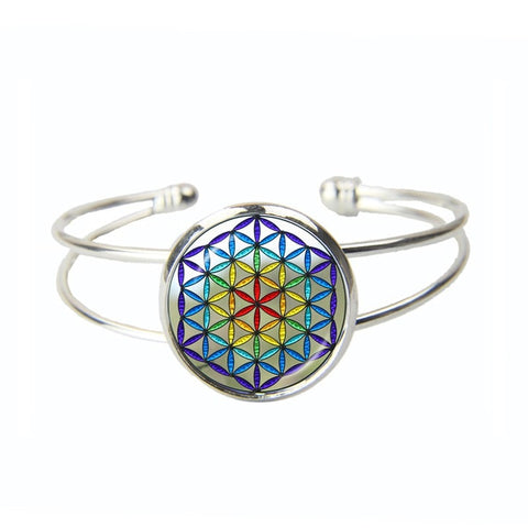 Radiant Rainbow Flower of Life Cuff Bracelet - Peak Instinct - sacred geometry jewelry