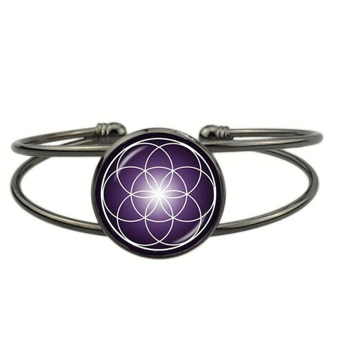 Radiant Vibrations Flower of Life Cuff Bracelet - Peak Instinct - sacred geometry jewelry
