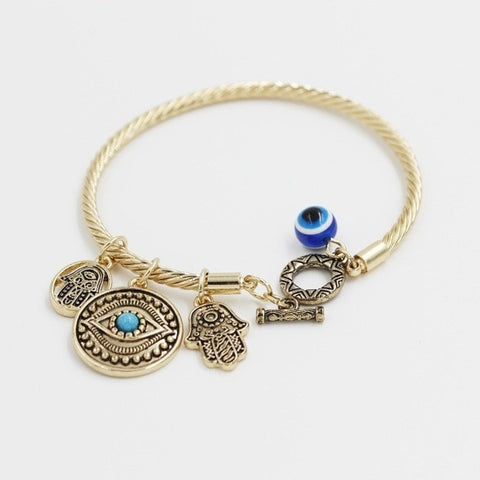 Blue Evil Eye and Hamsa Hand 6mm Palm Bangles & Bracelet For Women - Peak Instinct - sacred geometry jewelry