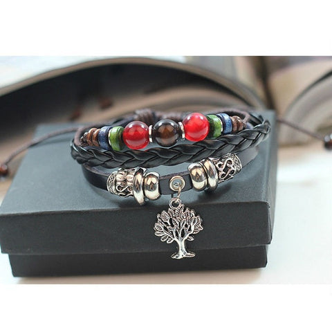 Tree of Life Leather Rope Bracelet - Peak Instinct - sacred geometry jewelry