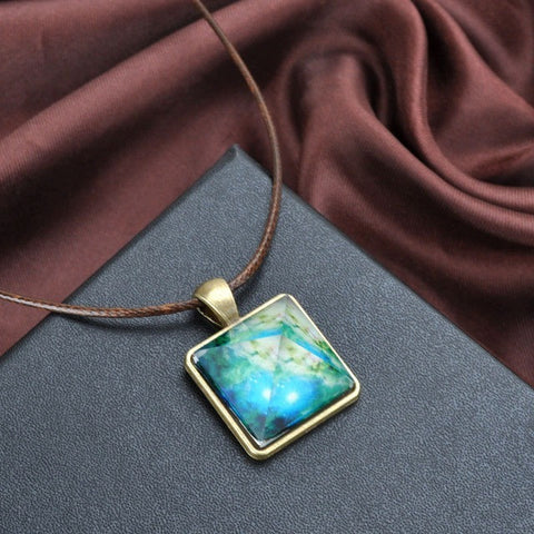 Galaxy Pyramid Necklace With Glow In The Dark