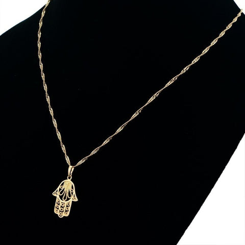 Vintage 18k Real Gold Plated Hamsa Hand Pendant Necklace, Unisex - Peak Instinct - sacred geometry jewelry