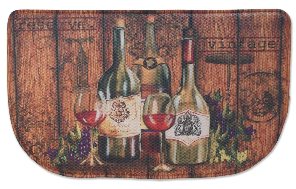 Memory Foam Kitchen Rug Vintage Wine Bottles Bistro