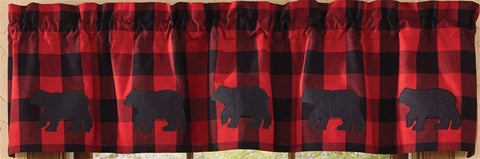 Black Bear Lined Curtain Valance