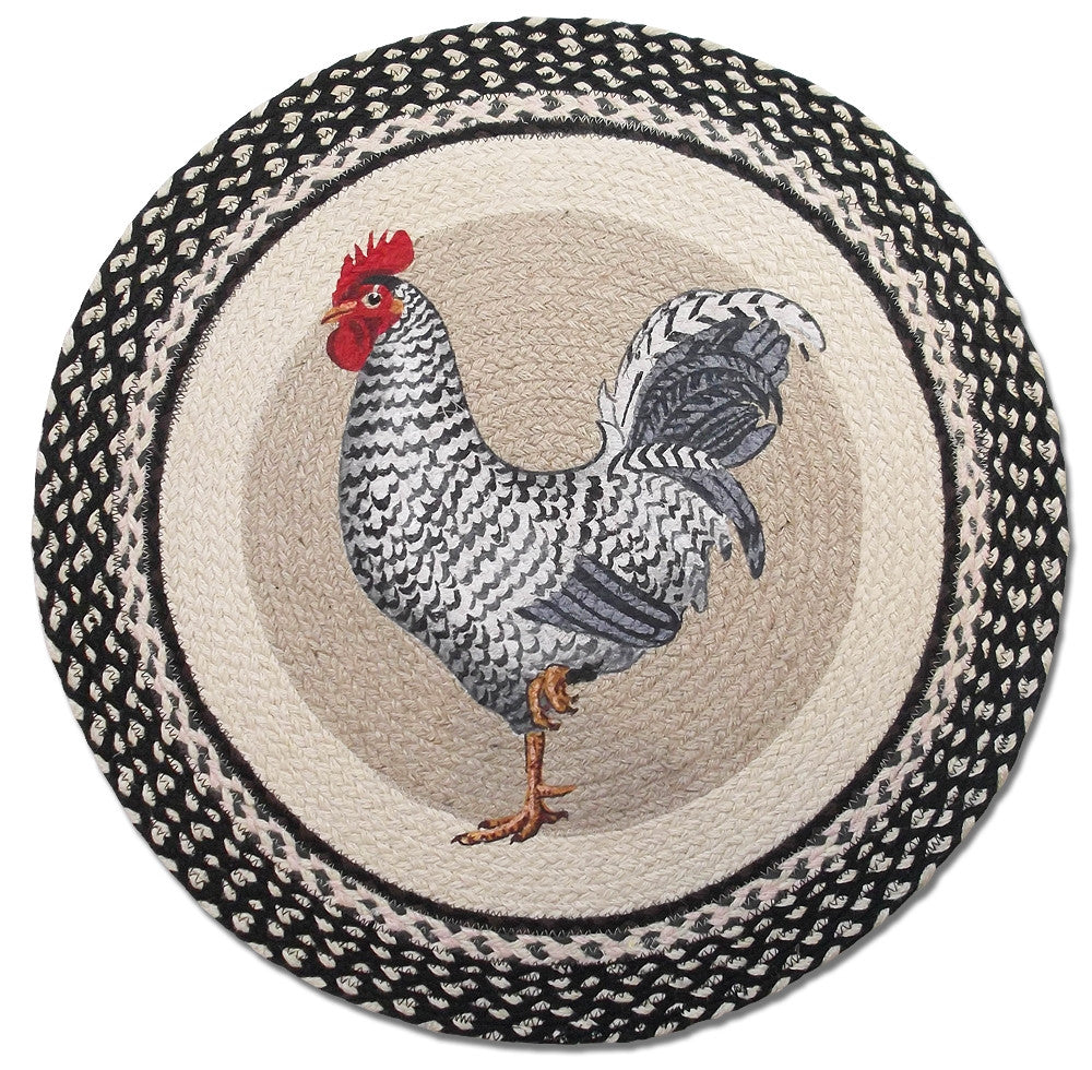 Rooster Braided Rug Round