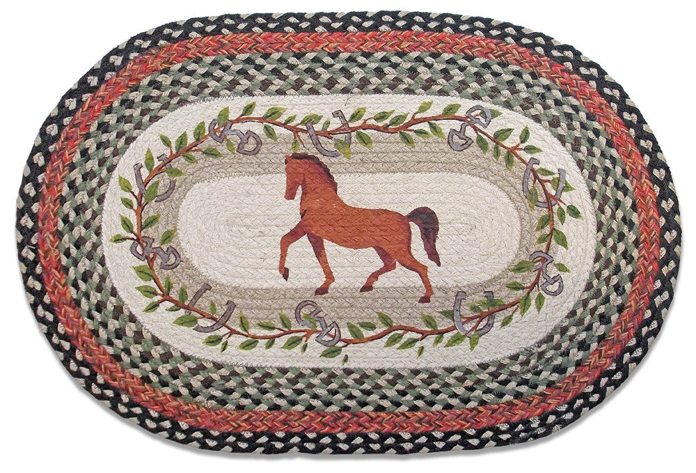 Gaited Horse Braided Rug Oval