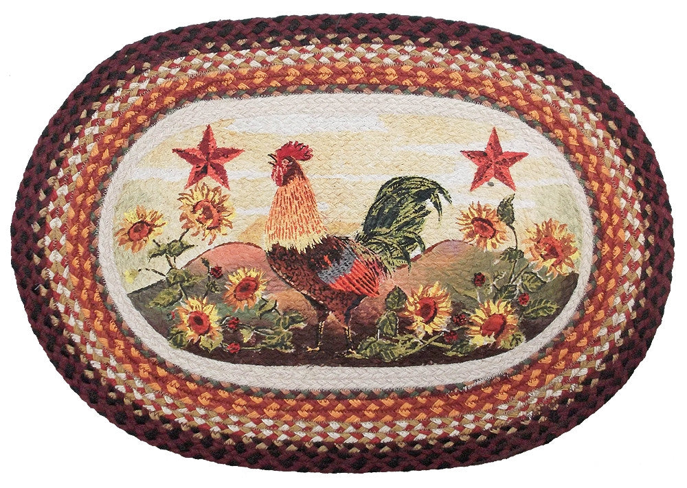 Morning Rooster Braided Rug Oval