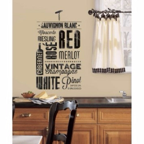 Wine Wall Decals, peel and stick decor wine lovers sign label bottle stickers