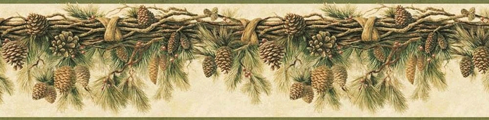 Pine Cone Swag Wallpaper Border RJ01391