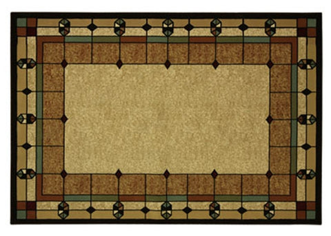 Mission Style Rug 5x7 Stained Glass Design