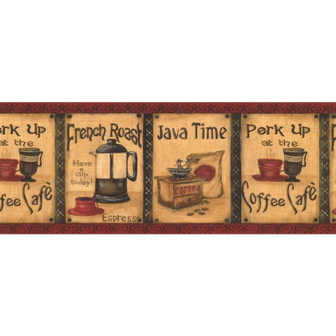 Java Coffee Wallpaper Border KG8838B