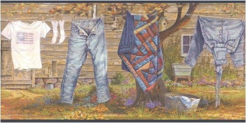 Laundry Line Wallpaper Border SB10169B