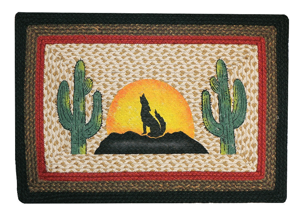 Howling Coyote Braided Rug Rectangle