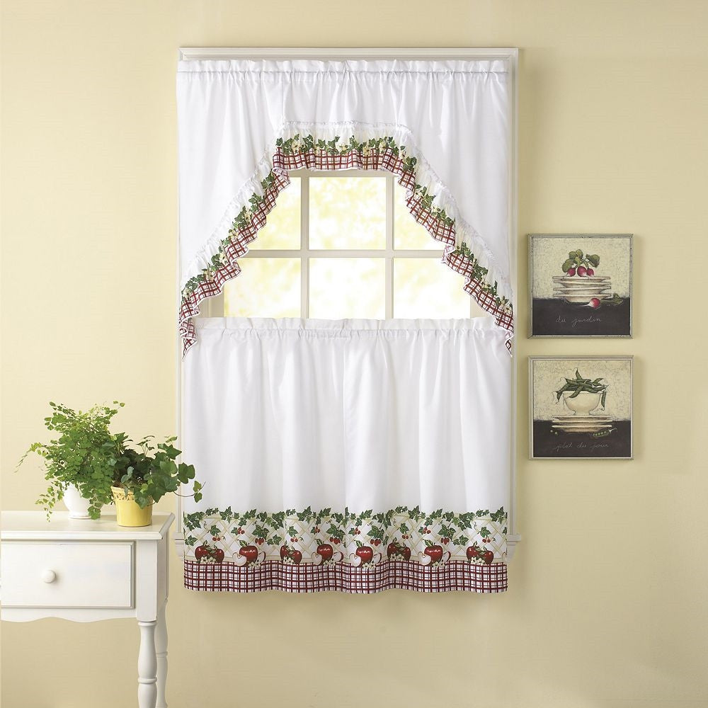 "Apple Blossom Window Curtain Set, country decor kitchen swag and 36"" tiers"