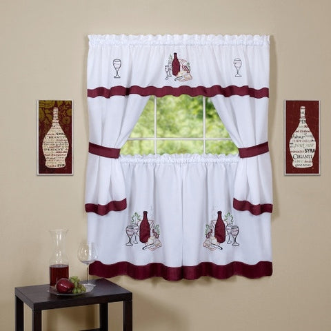 "Cabernet Burgundy Wine Curtains, Cottage Window Kitchen Set w/ 24"" Tiers"