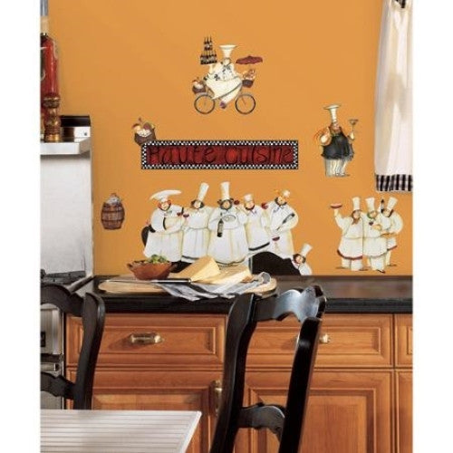 Fat Chef Kitchen Accessories: Italian Fat Chef Kitchen Decor Wall Stickers, Peel And