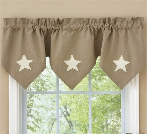 Country Triple Point Valance Taupe and Star