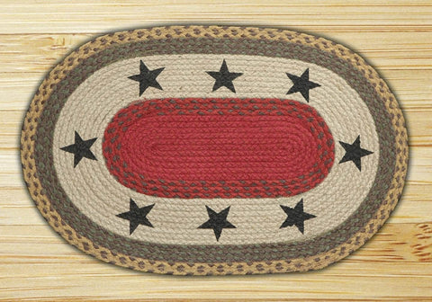 Black Star Braided Rug Maize Oval